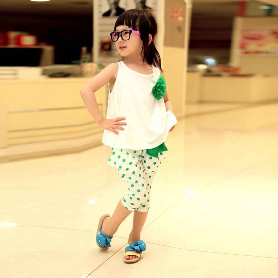 baby Girl DOT Flower set Toddler gilet abbigliamento Vestitini Squarex set