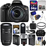 Canon EOS Rebel T6i Wi-Fi Digital SLR Camera & EF-S 18-135mm is STM 75-300mm Lens + 64GB Card + Case + Flash + Battery & Charger + Tripod Kit