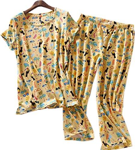 Amoy madrola Women Cotton Sleepwear / Short Sets / Pajamas Set SY215-Yellow bird-M