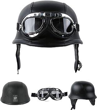 Black PU Leather, L TCMT DOT German Motorcycle Open Face Helmet For Chopper Cruiser Biker