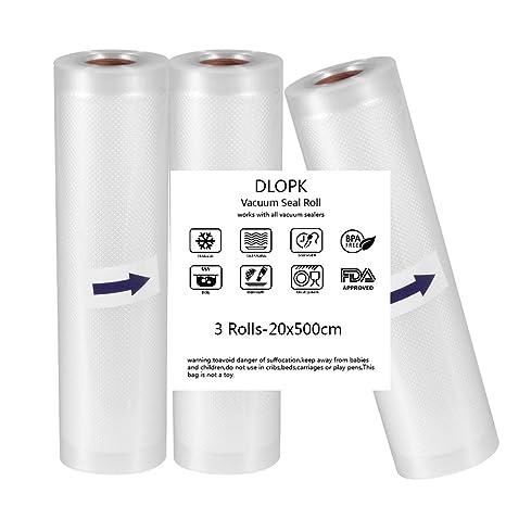 Bolsas de Vacío 3 pack 20x500cm Bolsas Profesional para la Conservación,Sous Vide Cocina, Aprobación de la FDA y BPA Free