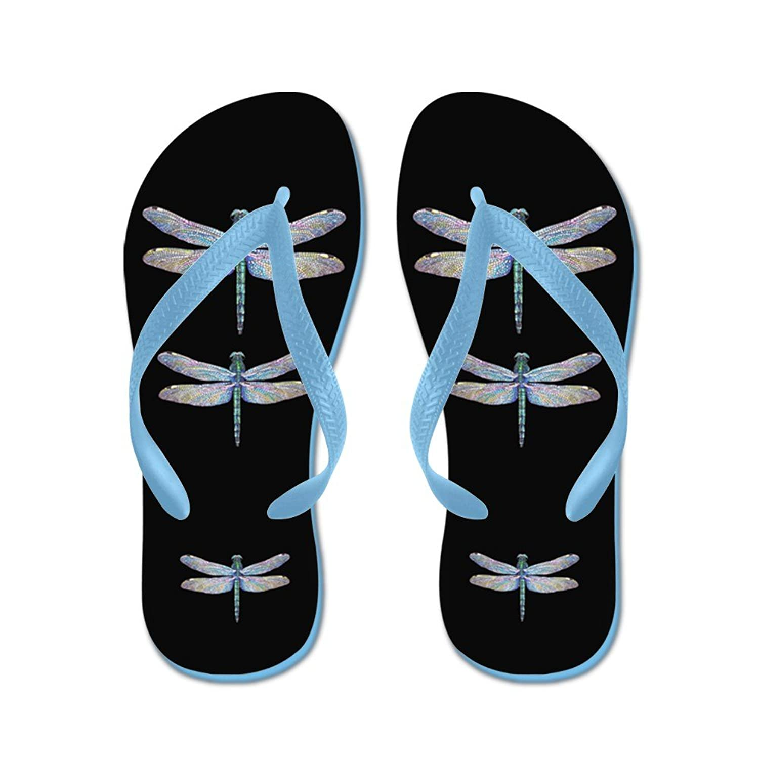 95fde8f91 CafePress Dragonflies On Black - Flip Flops