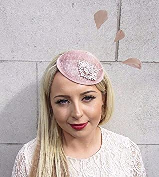 Starcrossed Boutique Nude Pink Beige Rose Gold Silver Feather Fascinator  Races Wedding Hat Hair 3672 f283106d4a7