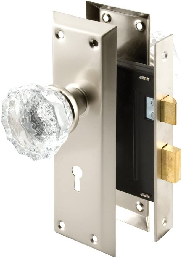 Keyed Prime-Line Products E2497Mortise Lock Set with Glass Knob Classic Bronze