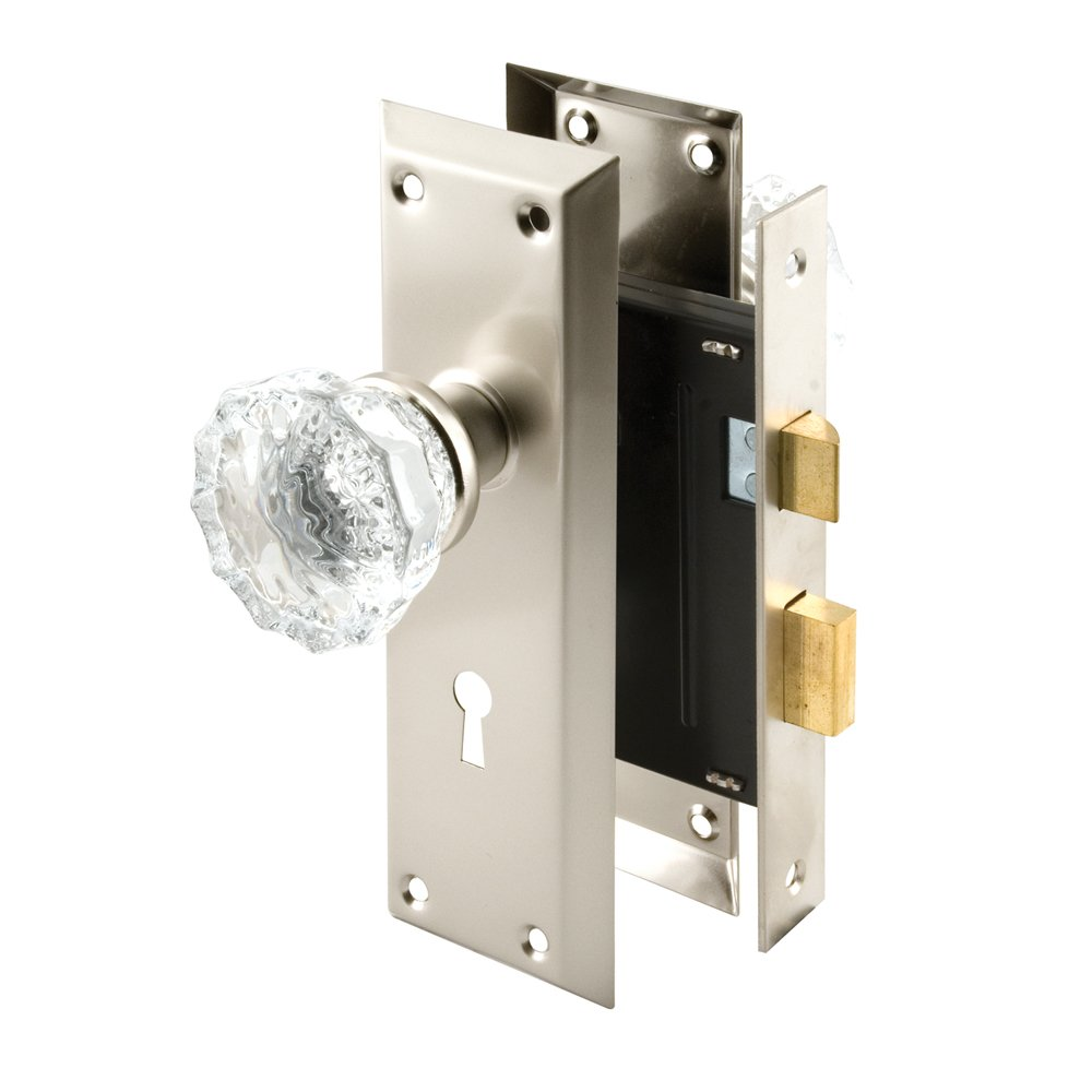 Defender Security E 2496 Mortise Keyed Lock Set with Glass Knob