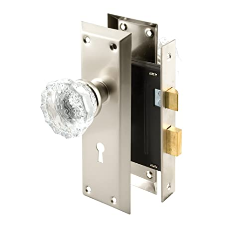 Classic Bronze Prime-Line Products E2497Mortise Lock Set with Glass Knob Keyed