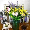 Artificial Fake Flowers, 4 Bundles Outdoor UV Resistant Greenery Shrubs Plants Indoor Outside Hanging Planter Home Garden Decor