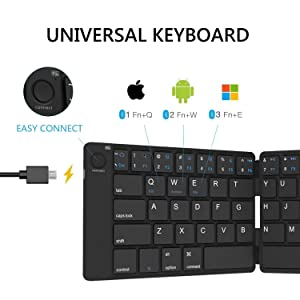Bluetooth Folding Keyboard Foldable Bluetooth Keyboard Rechargeable Full Size Foldable Keyboard for iOS Phone Android Smartphone Tablet Windows Laptop (Color: black)