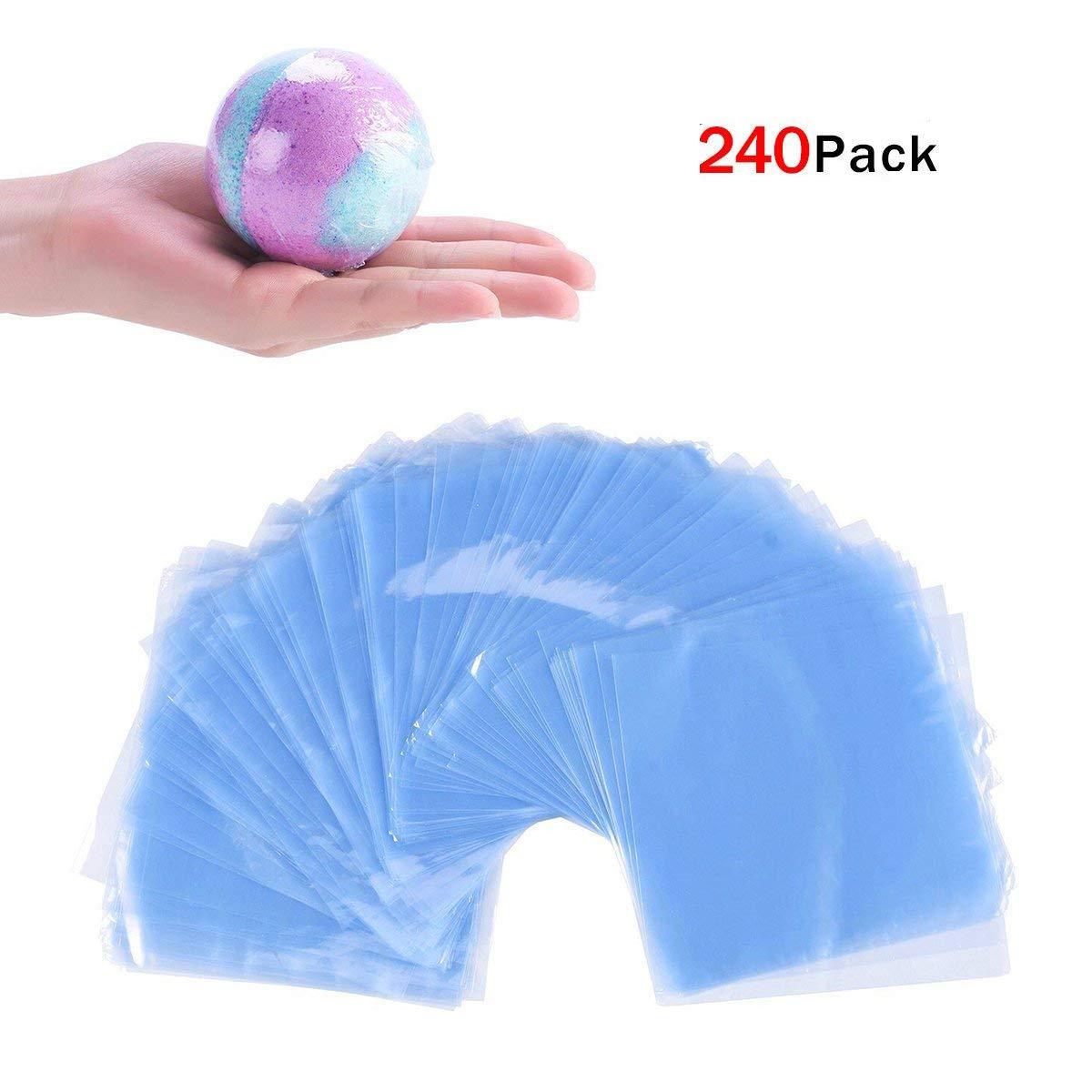 JER Heat Shrink Wrap Bags 240Pcs Clear Shrink Film Bag Odorless Heat Seal Packs for Bath Bombs DIY Handmade Crafts