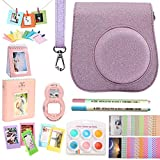 SAIKA Fujifilm Instax Mini 9 Accessories for Instax Mini 9 8 8+ Instant Camera - Protective Case, Hanging Frame & Table Frame, Filter& Selfie Lens, Photo Album, Film Sticker& More - Glitter Pink