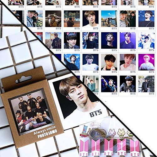 eKoi KPOP BTS Photocard Bangtan Boys LOMO Greeting Postcard w Pink Logo Paper Photo Peg Craft Clips Rope Pack (40 PC Box Set B for Army Fans)