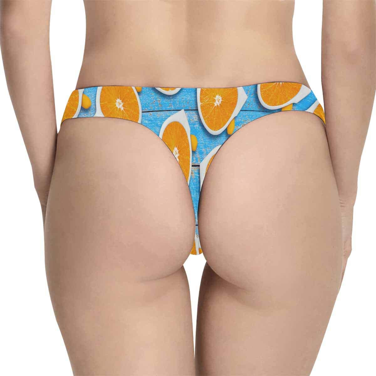 INTERESTPRINT Womens Thong Underwear Stretchy Panties Orange Sliced Sunglasses on Wood Background