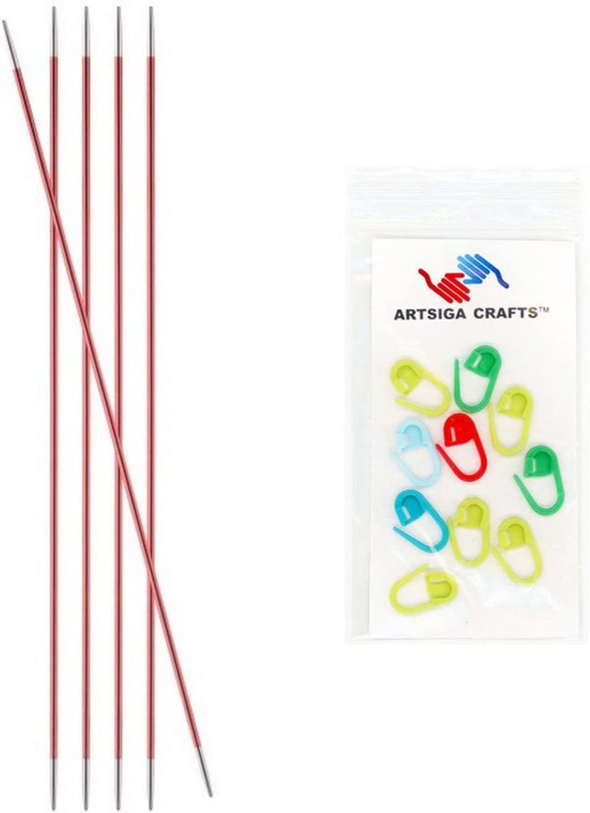 2mm Knitters Pride Knitting Needles Zing Double Pointed 6 inch Size US 0 Bundle with 10 Artsiga Crafts Stitch Markers 140001