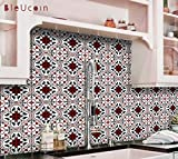 Oxred Moroccan Encaustic Tile Stickers for Kitchen Bathroom Backsplash, Removable Stair Riser, Door Peel and Stick Home Decor, Furniture, Fridge Decal - Pack of 44 (20cm x 20cm (Pack of 44))
