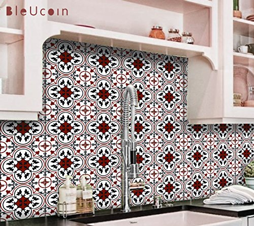 Oxred Moroccan Encaustic Tile Stickers for Kitchen Bathroom Backsplash, Removable Stair Riser, Door Peel and Stick Home Decor, Furniture, Fridge Decal - Pack of 44 (20cm x 20cm (Pack of 44)) by Bleucoin