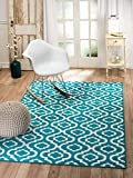 """SUMMIT BY WHITE MOUNTAIN Summit 4Y-7SOB-UIY1 26 Trellis Turquoise White Area Rug Modern Abstract Rug Many Sizes Available, 4′. 10"""" x 7′. 2"""" For Sale"""