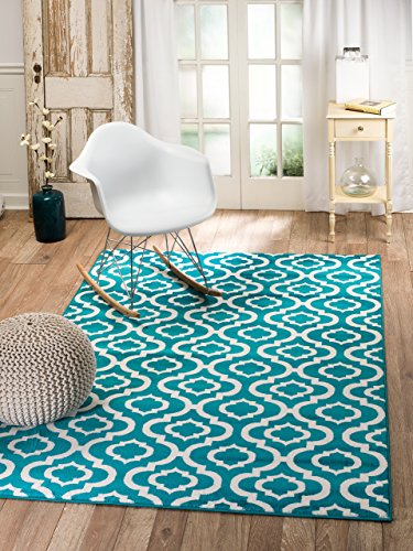 "SUMMIT BY WHITE MOUNTAIN Summit 4Y-7SOB-UIY1 26 Trellis Turquoise White Area Rug Modern Abstract Rug Many Sizes Available, 4′. 10"" x 7′. 2"" For Sale"