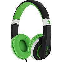 RockPapa I20 On Ear Headphones Foldable with Microphone, Earphones Adjustable for Kids Childrens Adults, iPhone iPad iPod, Samsung LG Huawei Phones Tablets MP3/4 CD DVD in Car Black Green
