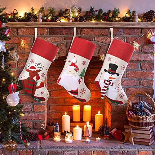 Unomor Christmas Stockings 3 Pack 18 inches Large Xmas Stockings Set with 3D Santa Snowman Reindeer for Christmas Tree Decorations Holiday Party Decor Gifts