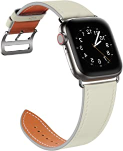 SAWE Compatible with Apple Watch Band 44mm 42mm, Genuine Leather Band Replacement Strap Compatible with Apple Watch Series 6 5 4 (44mm) Series 3 2 1 (42mm) SE/ Sport and Edition, (Ivory White)