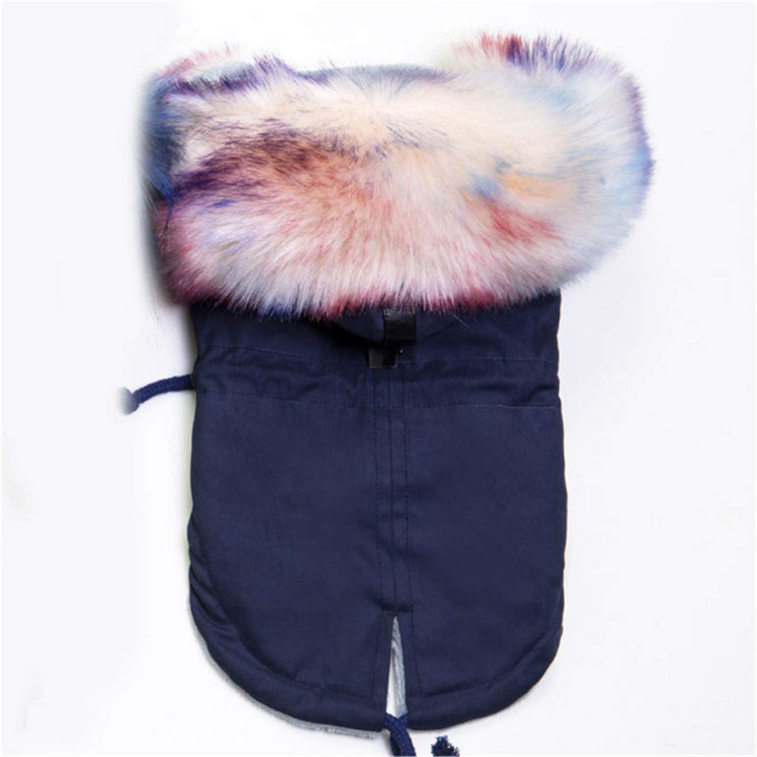 Navy bluee S navy bluee S Winter Dog Clothes Luxury Faux Fur Collar Dog Coat for Small Dog Warm Windproof Pet Parka Fleece Lined Pu