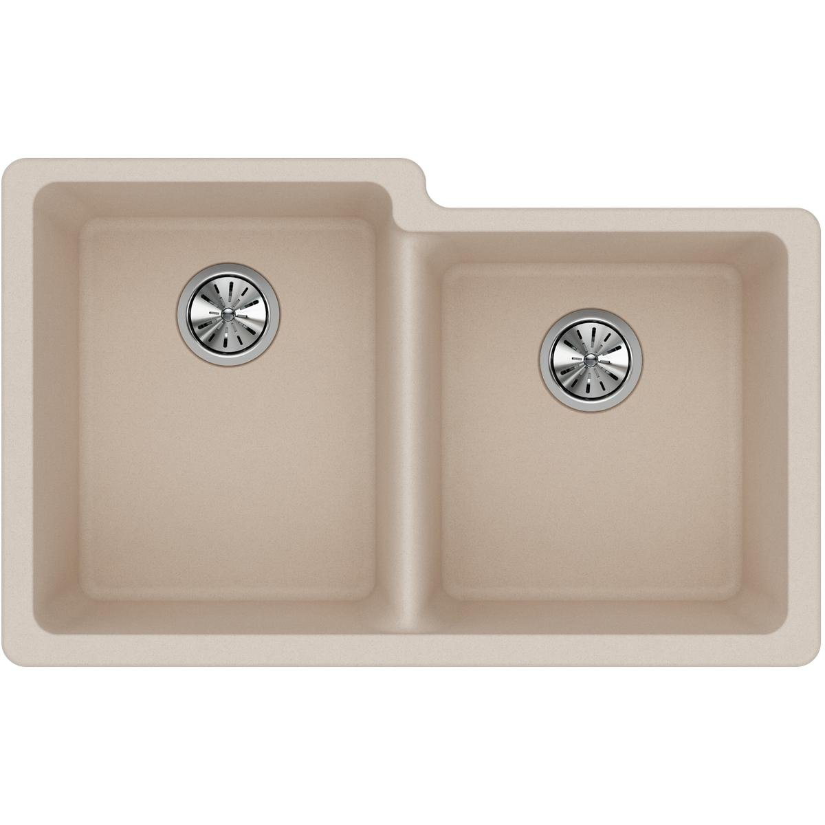 Elkay Quartz Classic ELGU250RPT0 Putty Offset Double Bowl Undermount Sink
