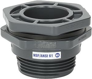 Hayward BFAS1020CES 2-Inch Gray PVC Socket by Thread BFAS Series Bulkhead Fitting with EPDM Standard Flange Gasket