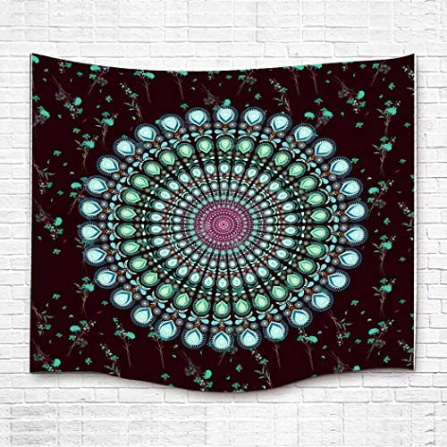 Simsant Turquoise Blue Tapestry Mandala Bohemian Wall Hanging Large Size Wall Blanket Indian Wall Art Beautiful Wall Decor Dorm Turquoise Blue,84x90inches 213.3×228.6CM SILF012