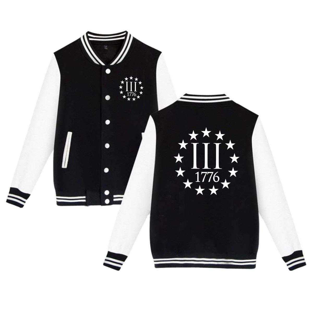MEILOP Unisex Three Percenter 1776 Symbol Baseball Jacket Uniform Sweater Coat