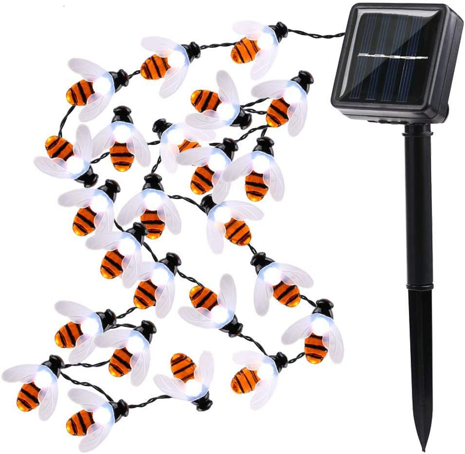 Solar String Lights Honeybees 19.7ft 30 LED 8 Modes Solar Garden Lights Waterproof Solar Powered Fairy Lights for Outdoor Garden Decor (White)