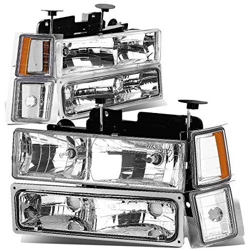 Chevrolet K2500 Headlight Assembly (Chevy C/K-Series GMT400 Facelifted Chrome Headlight+Bumper Light+Amber Lens)