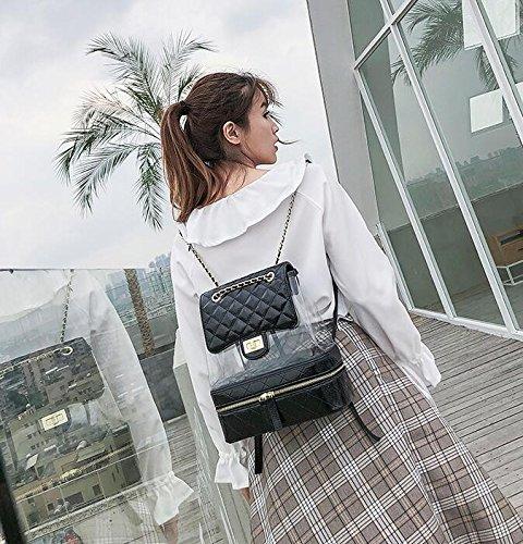 main femme transparent sac à lâche étudiant d'été YiNan Chaîne à Black à voyage dos sac sac sac dos mode ZxqzTfPIw