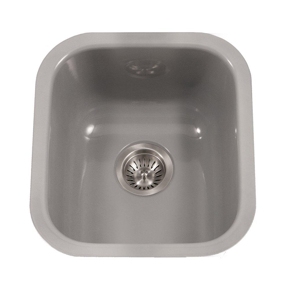 Houzer PCB-1750 SL Porcela Series Porcelain Enamel Steel Undermount Bar/Prep Sink, Slate by HOUZER