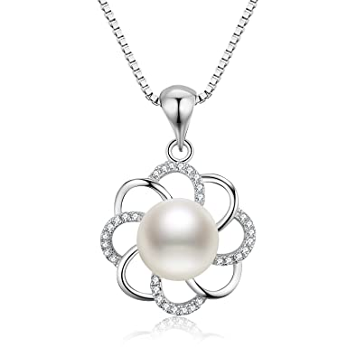 Pearl Necklace for Women, S.Vantine 925 Sterling Silver Necklace Pearl Pendant Twisted Flower Cubic Zirconia Chain Necklace