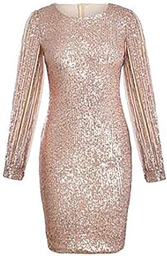 Seksowna sukienka, sukienka z cekinami, z długim rękawem, z okrągłym dekoltem, na bal, odświętna sukienka mini: Odzież