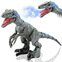 XLNB Remote Control Dinosaur Toy, Jurassic World, 2.4G RC Dinosaur Intelligent Raptor Animal Simulation Electric Induction Toy Smart Touch Can Walk Sing Dance Swing Head and Tail Spray Dinosaur