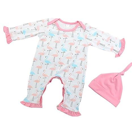 originaltree Cute bebé recién nacido Niñas Flamingo Imprimir volante Pelele de manga larga con gorro samecolor