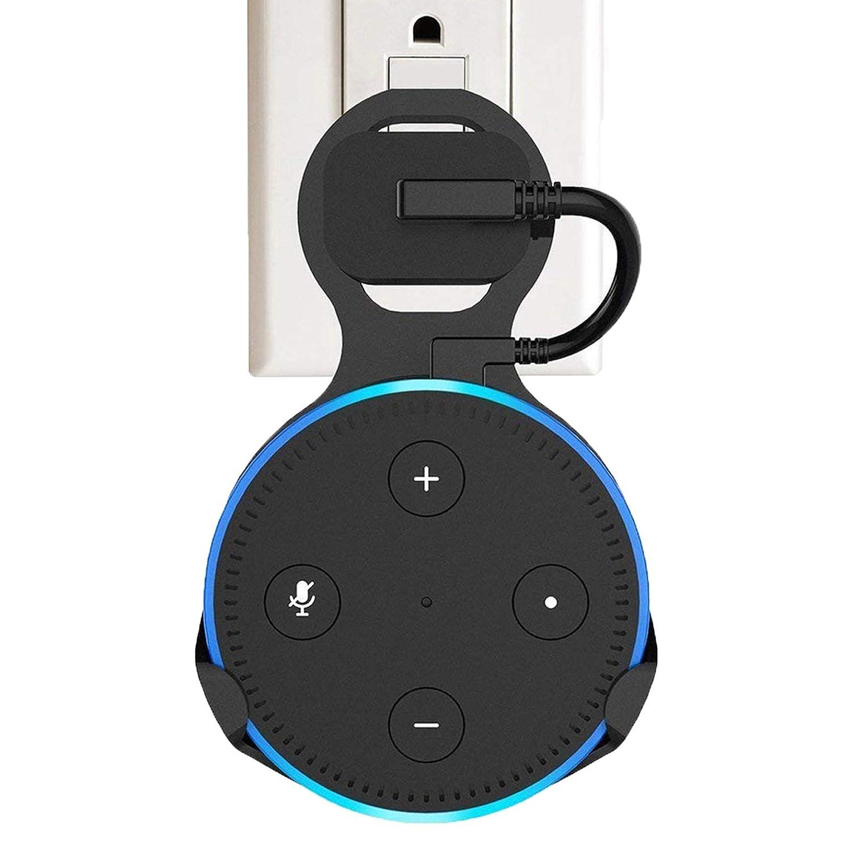 [最新モデル] efamilyコンセント壁マウントハンガースタンドfor Echo Dot 2 nd世代、コンパクト省スペースDock forスマートホームスピーカーわずらわしい配線やネジなし – ブラック   B07F6QQM6T