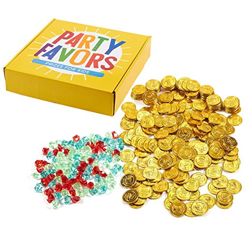 Pirate Gold Coins and Gems - 350-Count Pirate Party Supplies, Treasure Hunt Game Party Favors, Plastic Play Coins Toy for Birthdays, Pinata Stuffers, Ages 3 and Up