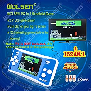 "WOLSEN 2.5"" LCD Portable Handheld Game Console Speaker (Blue + White) (3 X AAA) 152 in 1 Games"