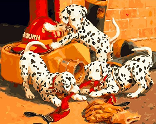 JynXos Paint by Number Kits for Adults Kids - Three Cute Dalmatians Dog 16x20 inch Linen Canvas without Wooden Frame