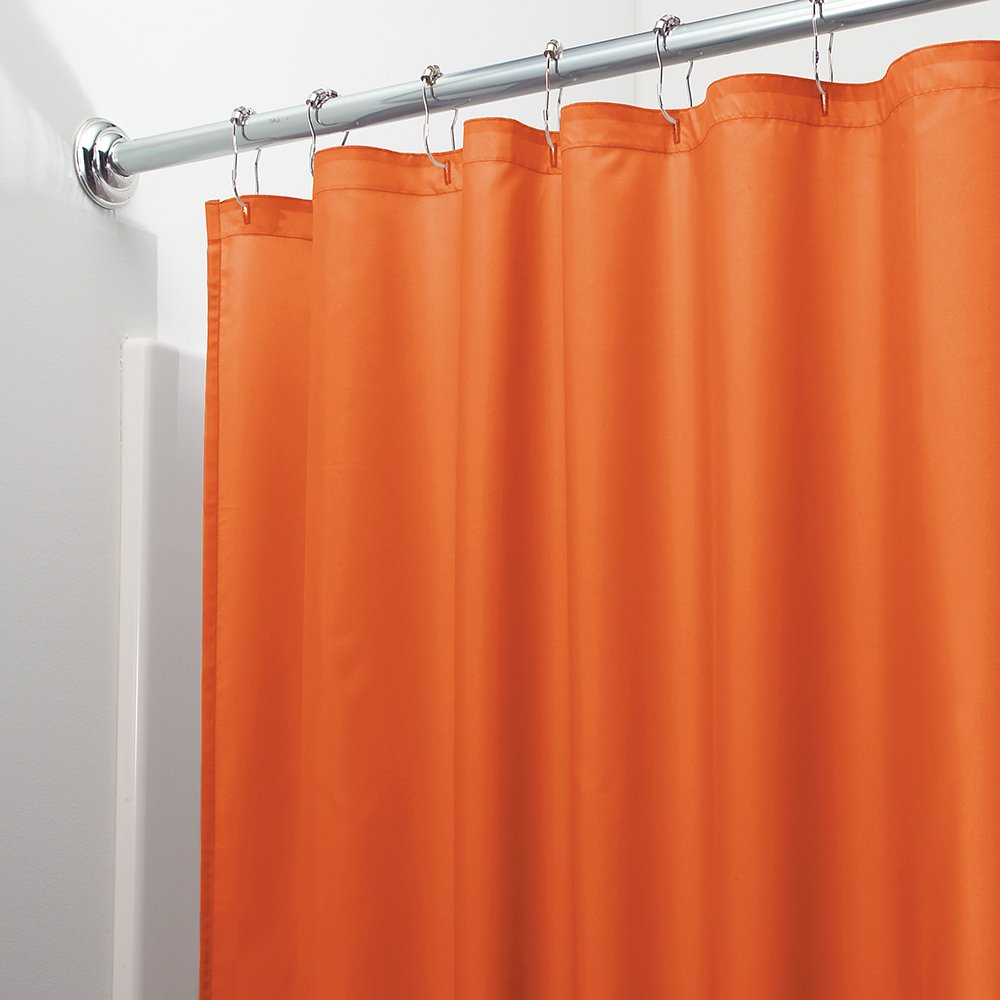 InterDesign Poly Bath Curtains Long Shower Curtain Made Of Polyester Orange Amazoncouk Kitchen Home