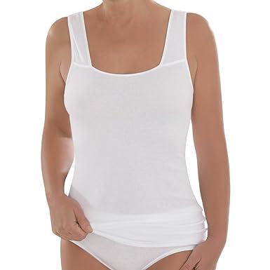 8ec0053be4 Comazo Damen Unterhemd - 2er Pack - Schwarz - 40 - Shirt aus reiner  Baumwolle -