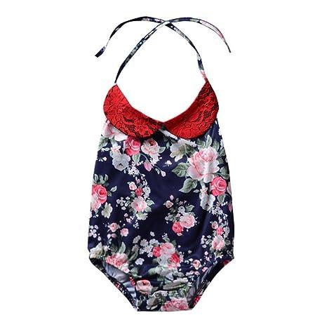 Wongfon recién nacido bebé niña floral muñeca collar pelele ...