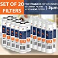 Water Filter Set of 20 Sediment/Carbon 5 Micron Water Filter Catridges by Aquaboon