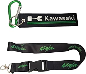 Ewein 1pc Silk Ninja Lanyard + 1pc Tag Embroidered Keychain D Shape Carabiner Clip Motorcycle Superbike Scooter Car ATV UTV House Keys Chain Office ID Biker Racing Accessories Work with (Kawasaki)