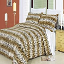Luxury 3PC Full/Queen Printed Black and Gold Cheetah Duvet Cover Set, 300 Thread Count 100 % Cotton fiber reactive prints with matching pillow shams