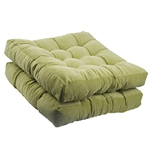 youta Solid Papasan Patio Seat Cushion Square Chair Pad Home Floor Cushion 22 Inch Set of 2 Throw Pillows Indoor/Outdoor Green