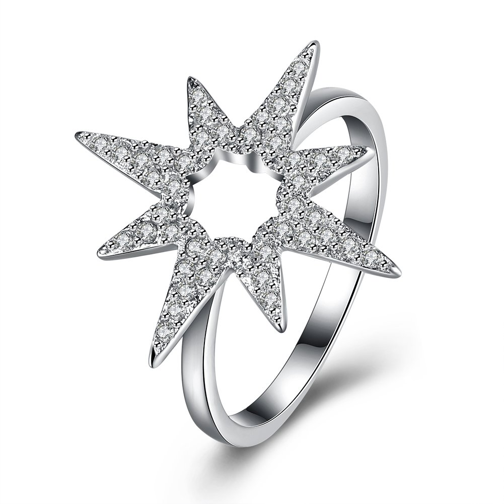 Women's 925 Sterling Silver Flower Hollow Cubic Zircon Statement Wedding Band Princess Eternity Engagement Promise Ring Large Size 8 GLOBAL BUY INDUSTRIAL LIMITED GBR00W0148S8