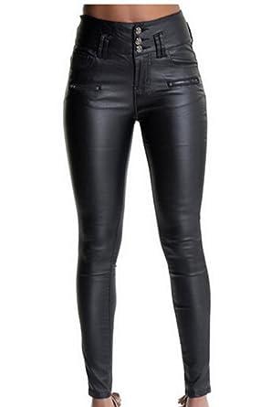 499949514c Suvotimo Mujeres de piel sintética pantalones alta cintura Skinny PU  leggings  Amazon.es  Ropa y accesorios